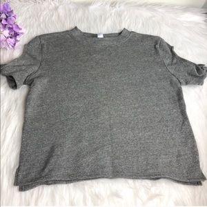 Alternative gray short tie sleeve pullover